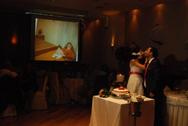 Projector while cutting the cake